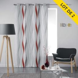 Lot de 2 rideaux a oeillets 140 x 260 polyester imprime ondulys Rouge