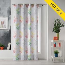 lot de 2 rideaux a oeillets 140 x 260 polyester imprime orlane