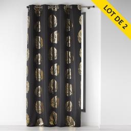 Lot de 2 rideaux a oeillets 140 x 260 polyester imprime palmette Anthracite/Or