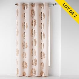 Lot de 2 rideaux a oeillets 140 x 260 polyester imprime palmette Rose/Cuivre
