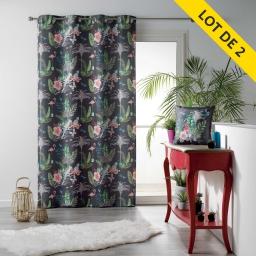 Lot de 2 rideaux a oeillets 140 x 260 polyester imprime paradizio anhracite Anthracite