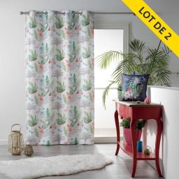 Lot de 2 rideaux a oeillets 140 x 260 polyester imprime paradizio Blanc