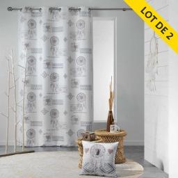lot de 2 rideaux a oeillets 140 x 260 polyester imprime samos
