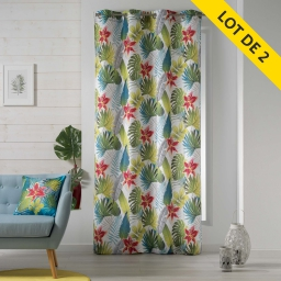 lot de 2 rideaux a oeillets 140 x 260 polyester imprime tropical flower