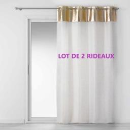 Lot de 2 rideaux a oeillets 140x240 cm luxury Blanc/or
