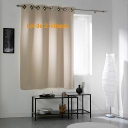 Lot de 2 rideaux a oeillets carres 140 x 180 cm occultant uni cocoon Naturel