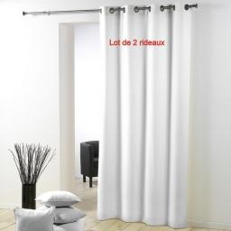 Lot de 2 rideaux a oeillets metal 140 x 280 cm polyester uni essentiel Blanc