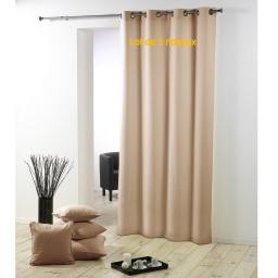 Lot de 2 rideaux a oeillets metal 140 x 280 cm polyester uni essentiel Lin