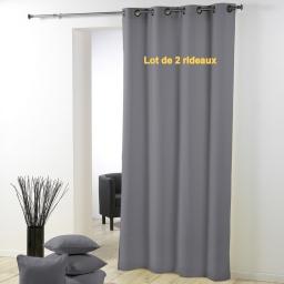 Lot de 2 rideaux a oeillets plastique 140 x 260 cm polyester uni essentiel Gris