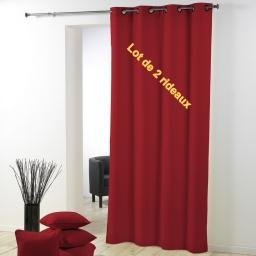 Lot de 2 rideaux a oeillets plastique 140 x 260 cm polyester uni essentiel Rouge