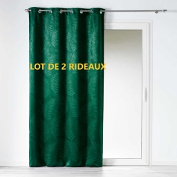 Lot de 2 rideaux occultant 140 x 240 cm tropicaline Emeraude