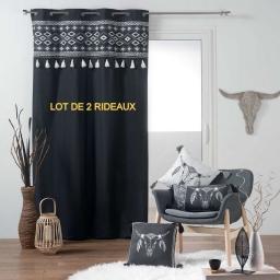 lot de 2 rideaux oeillets 140 x 240 cm coton uni+top imprime+pompons mohicana