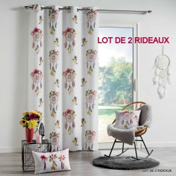 lot de 2 rideaux oeillets 140 x 260 cm polyester imprime bohemia