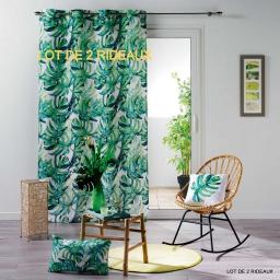 lot de 2 rideaux oeillets 140 x 260 cm polyester imprime carvenao
