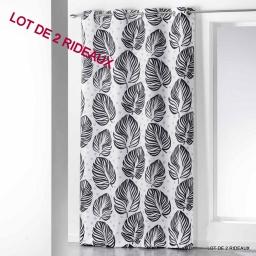 lot de 2 rideaux oeillets 140 x 260 cm polyester imprime manoa
