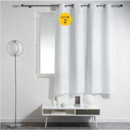 Lot de 2 rideaux spécial petites fenêtres 140 x 180 cm Essentiel Blanc