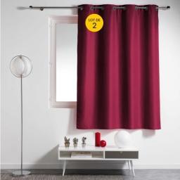 Lot de 2 rideaux spécial petites fenêtres 140 x 180 cm Essentiel Bordeaux