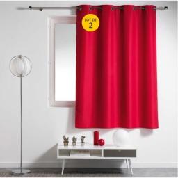 Lot de 2 rideaux spécial petites fenêtres 140 x 180 cm Essentiel Rouge