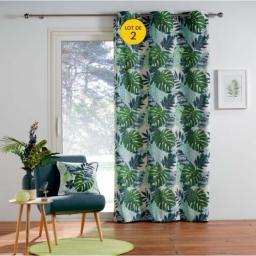Lot de 2  rideaux tamisant a oeillets 140 x 250 cm coton Jungle green