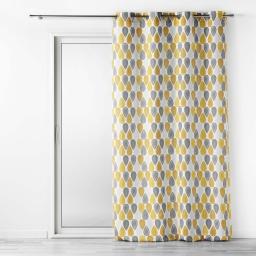 Lot de 2 rideaux  tamisant a oeillets 140 x 260 cm polyester Palpito Jaune/Blanc