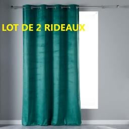 Lot de 2 rideaux tamisant en velours 140 x 240 cm veloutea Vert