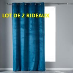 Lot de 2 rideaux tamisant en velours140 x 240 cm veloutea Bleu
