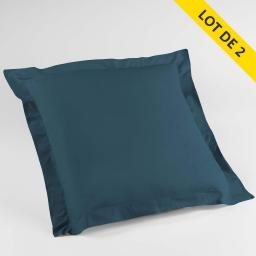 Lot de 2 taies d'oreiller volant plat 63x63 100% coton 57 fils Finition point bourdon  Bleu nuit