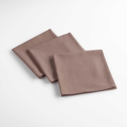 Lot de 3 serviettes de table 40 x 40 cm coton uni aubeline Taupe
