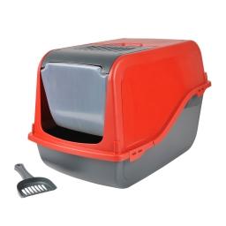 maison de toilette pour chat coloris rouge + accessoires 53*36*42cm
