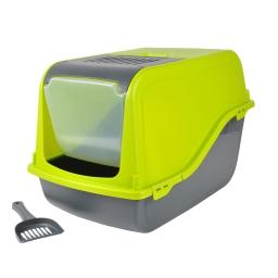 maison de toilette pour chat coloris vert anis + accessoires 53*36*42cm
