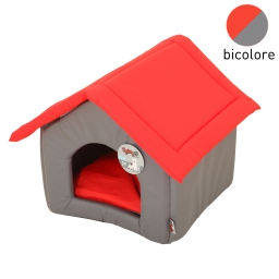 maison pagode47x39x42cm bicolore rouge/gris