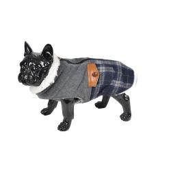 Manteau chien bicolore 2 poches doublé polaire S/30cm Gris Bleu