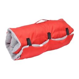matelas de voyage 80*50cm en polyester + sherpa design bicolore rouge/gris