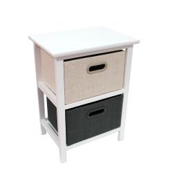 meuble 2 tiroirs 37 x 27 x ht 49 cm mdf+jute mineral