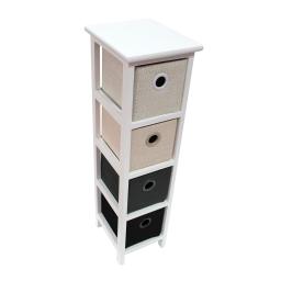 meuble 4 tiroirs 22 x 26 x ht 80 cm mdf+jute mineral