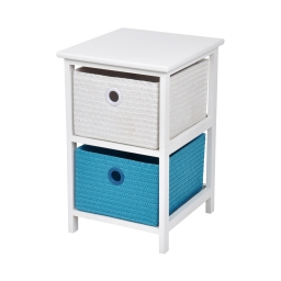 meuble bois paulownia/mdf 2 tiroirs pp tressé 33*37*h53cm trendy bleu