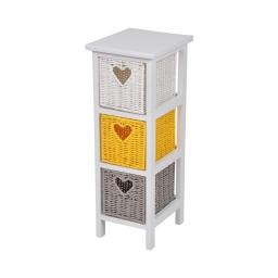 meuble bois paulownia/mdf 3 tiroirs papier tresse 22*26*h61cm cosy jaune