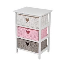 meuble bois paulownia/mdf 3 tiroirs papier tressé 40*29*h58cm cosy rose poudré