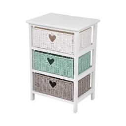 meuble bois paulownia/mdf 3 tiroirs papier tressé 40*29*h58cm cosy vert menthe