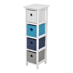 meuble bois paulownia/mdf 4 tiroirs pp tressé 22*26*h80cm trendy bleu