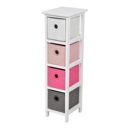 meuble bois paulownia/mdf 4 tiroirs pp tressé 22*26*h80cm trendy fuchsia