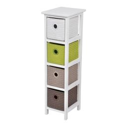 meuble bois paulownia/mdf 4 tiroirs pp tressé 22*26*h80cm trendy vert anis