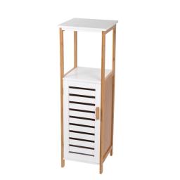 Meuble en mdf + bambou 1 porte + 1 etagere 30*30*h95cm blanc Blanc/bois