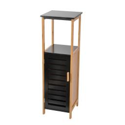 Meuble en mdf + bambou 1 porte + 1 etagere 30*30*h95cm noir Noir/bois