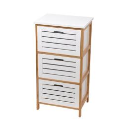 Meuble en mdf + bambou 3 tiroirs 40*30*h76cm blanc Blanc/bois