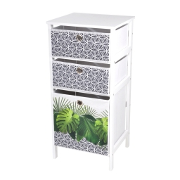 meuble mdf 3 panieres intisse 36*32*h76cm graphic jungle