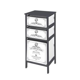 meuble mdf 3 panieres intissé 36*32*h76cm vintage