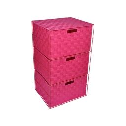 meuble metal 3 tiroirs en pp tressé - 35*30*h.60cm -fuchsia- douceur d'interieur