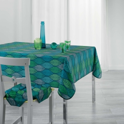Nappe anti tache 150 x 200 cm imprime winter green Bleu