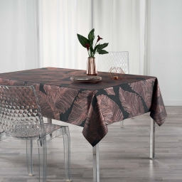 Nappe anti tache 150 x 240 cm imprimé metallise veggy Anthracite/or Rose